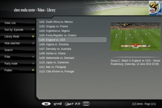 XBMC - World Cup 2010
