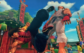Super Street Fighter IV: Arcade Edition - Yang kicks Ryu in the face