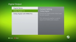 Xbox 360 Audio Settings - Enable Dolby Digital 5.1