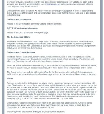 Codemasters apology email