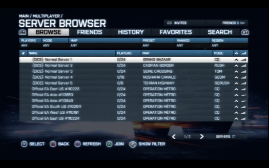 Battlefield 3: Server Browser