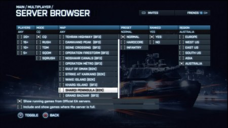 Battlefield 3: Server Browser - Advanced Filter