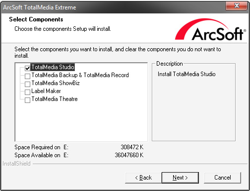 Arcsoft TME2 install - I only want the Capture Module
