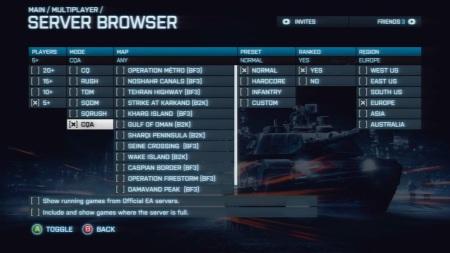 Battlefield 3 - Xbox 360 Server Browser Filter (inc CQA)