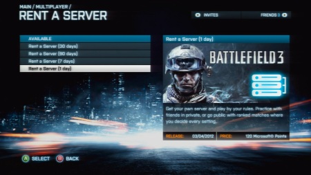 Battlefield 3 - Rent a Server for a day on Xbox 360