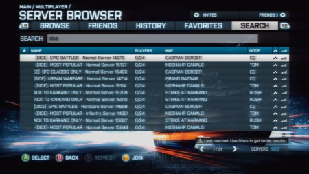 Battlefield 3 - Console Server Browser Search